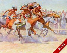 NATIVE AMERICAN INDIANS HORSE JOCKEY RACE RACING ART PAINTING REAL CANVAS PRINT