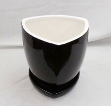 "8"" Wide Three Sided Ceramic Glazed Black Planter With Saucer White Interior"
