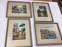 4 Hand Colored Etchings Bela Sziklay Italian Scenes