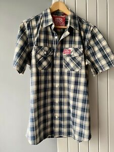 """Superdry Shirt X Large 42"""" Short Sleeve Blue Cream Check button front Pockets"""