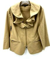 Lafayette 148 Womens Tan Zipper Trimmed Ruffle Collar Zip Up Jacket Sz 12