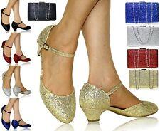 Mujer Ladies Noche Nupcial Tacón Bajo Vestido Zapatos + a Juego Bolsa 665