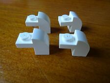 LEGO WHITE x 4  MODIFIED BRICK WITH CURVED TOP PART 6091