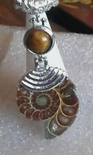 Natural ammonite & tigers eye stylish silver plated pendant/ chain