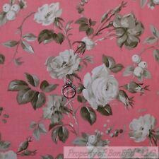 BonEful Fabric Cotton Quilt VTG Pink White Gray Rose Flower Shabby Chic L SCRAP