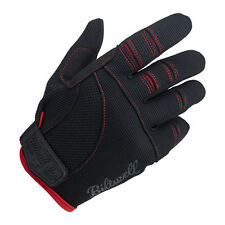 Biltwell Moto Gloves, Motorcycle Gloves, Black/Red SIZE XS