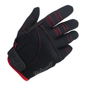 Biltwell Moto Gloves, Motorrad Handschuhe, Schwarz / Rot Größe XS