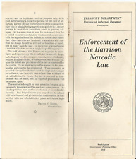 1919 Harrison Narcotic Law Treasury Department Regulations Pamphlet Opium & Coca