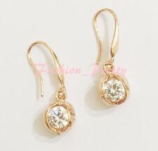 SUPER PRETTY CRYSTAL BASKET DANGLE EARRINGS  IN ROSE GOLD PLATED BRASS, 1 INCH