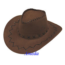 Kids Western Cowboy Cowgirl Brown Hat Cattleman Stitched Leather Costume Party