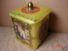Vintage,Tin,England,Square,Art,Paintings,Lidded,Gold