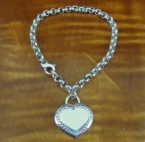 Heart Charm with Design Sterling Silver 925 Round Link BRACELET