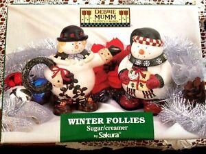 DEBBIE MUMM WINTER FOLLIES SNOWPEOPLE SUGAR & CREAMER NEW SAKURA MIB