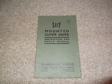 Blanche Lely Mounted Super Snipe Rare Collectors Vintage Parts Operators Manual