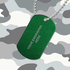 Green Aluminium - Personalised / Engraved-Army-Military-Dog-ID / Tag & Chain