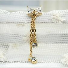 Rhinestone Ring Gold Plated Body Jewelry Piercing Bow Knot Belly Bar Button