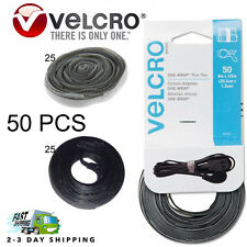 50 VELCRO Brand Ties Cable Cord Wraps Reusable Die Cut Straps 25 Grey 25 Blk
