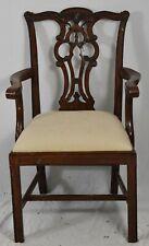 Maitland-Smith Mahogany Chippendale Straight Leg Arm Chair