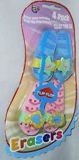 """Flip Flop Giant Erasers  4 Pack   3"""" x 1 1/2"""" Ea"""