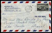 1954 US Air Mail Cover - Cedarhurst, New York to Sao Paulo, Brazil L3