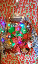 "GINGERBREAD MAN WREATH "" UGLY "" Tacky Christmas SWEATER LARGE LIGHTS WOMENS L@@K"