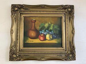 Vintage Frank Lean Oil Painting On Board Fruits & Bottle Signed & Framed
