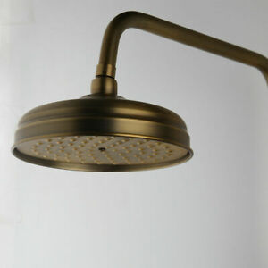 Antique Brass 8 inch Round Rainfall Shower Head Rain Bathroom Overhead Spray