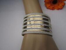 New Women Fashion Bracelet Gold Silver Metallic Cuff Stripped Glider One Size