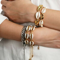 Women Summer Beach Jewelry Set Gold Color Shell Necklace Cowrie Bracelet Newest