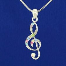 TREBLE CLEF MADE WITH SWAROVSKI CRYSTAL MUSIC MUSICAL MULTI COLOR NECKLACE