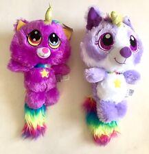 "2 New Rainbow Unicorn Purple Puppy Dog Kitty Cat 11.5"" Stuffed Plushes Fiesta"