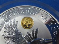 1996 Australian Kookaburra specimen 2 oz SILVER Coin. DUCAT GOLD PRIVY - Scarce