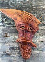 MYSTICAL VINTAGE CARVED OAK WOOD TREE TRUNK FOREST WIZARD FACE
