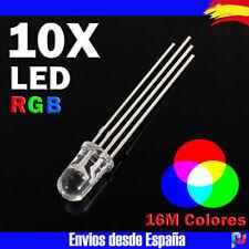 10x DIODO LED RGB 5mm transparente Catodo comun 4 pines