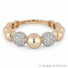 0.31ct Diamond Pave & Ball 14k Rose Gold Stackable Band Right-Hand Fashion Ring