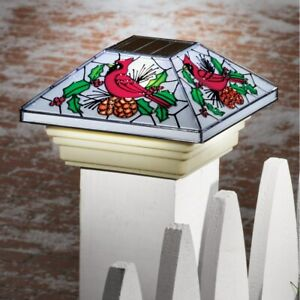 Solar Powered Stained Glass Look Christmas Cardinal Patio Fence Post Cap Light