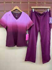New listing New Wine Print Scrubs Set With Koi Large Top & Healing Hands Large Pants Nwt
