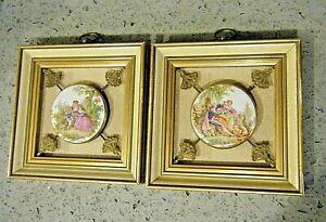 2 Vtg 1960s Romantic Victorian Porcelain Plaques Sungott Art Studios Shadowbox