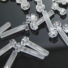 25/50/100set Acrylic Clear Plastic Nylon M3 Round Phillips Head Screw Bolt + Nut