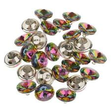 25 Colorful Crystal Upholstery Buttons With Metal Loop For Sofa Decor 25mm