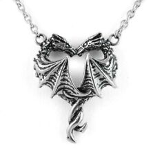 Couple Love Dragon Heart Necklace Pendant Stainless Steel Controse