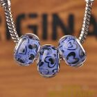 New 10pcs 14mm European Bracelet Resin Heart Pattern Big Hole Beads Blue