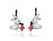 Boucles d'oreilles histoire de lapin ♥ lapin ♥ champignon ♥ blanc ♥ lol bijoux