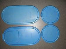 4 Tupperware Modular Mates OVAL & ROUND SEALS Country Blue 1616 1617 1607~ Flip