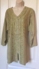 Size 1 X Women's Shirt Tunic Top Blouse Top 3/4 Sleeve Embroidered Summer Top