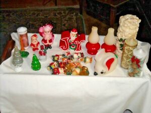 Vintage Lot of 26 Christmas Figural and Pillar Candles