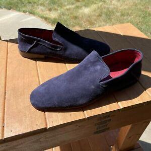 Berluti Suede Leather Slipper Loafer Size 8.5 US (7.5 Berluti) Navy Blue