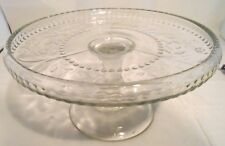 "Vintage Pressed Glass Pedestal Cake Stand Glass Cake Plate Approx.8 1/2"" x 4"""