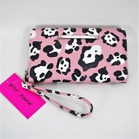 Betsey Johnson Zip Around Wallet Wristlet Blush Pink Leopard Print Faux Leather