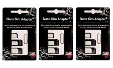 3X Nano SIM Card to Micro Standard Adapter Converter for iPhone 6 6S Plus 5 5S 4